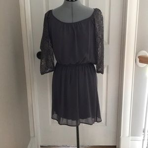 Gray laced dress/ noted little stain in pictures